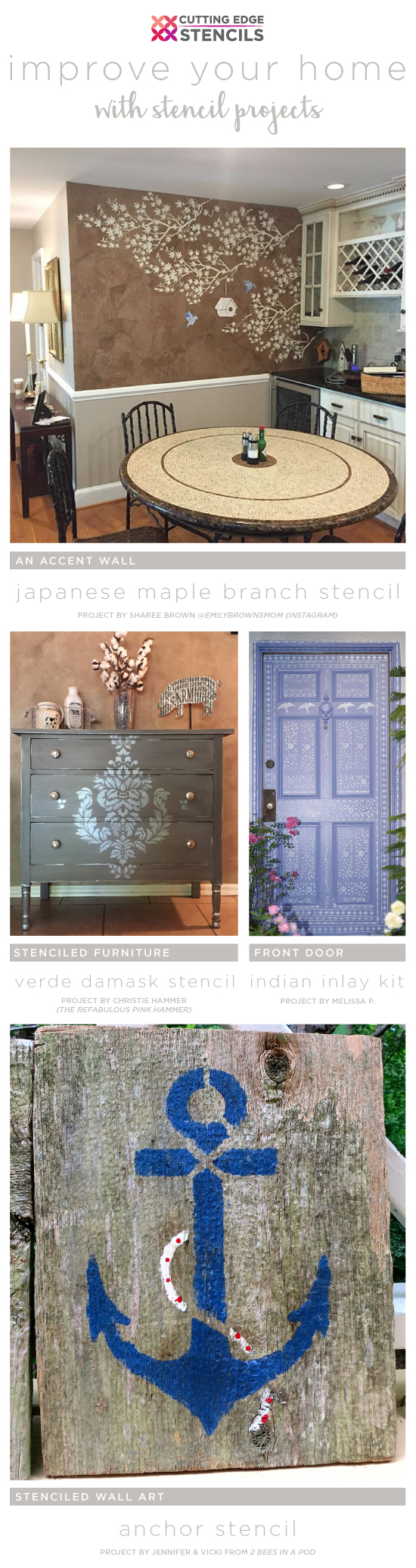 Cutting Edge Stencils shares simple and inexpensive DIY projects to spruce up a home using stencils. http://www.cuttingedgestencils.com/wall-stencils-stencil-designs.html