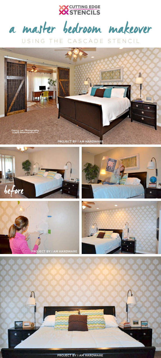 Cutting Edge Stencils shares A DIY stenciled bedroom makeover using the Cascade Allover Stencil. http://www.cuttingedgestencils.com/cascade-allover-stencil-pattern.html