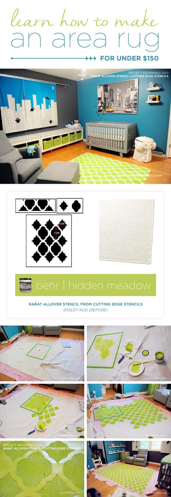 Cutting Edge Stencils shares how to stencil a DIY area rug for a nursery using the Rabat Allover Stencil. http://www.cuttingedgestencils.com/moroccan-stencil-pattern-3.html