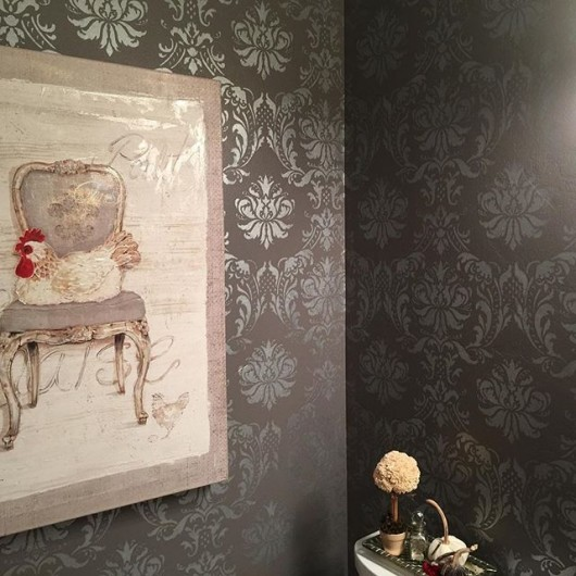A DIY metallic stenciled bathroom using the Gabrielle Damask Stencil from Cutting Edge Stencils. http://www.cuttingedgestencils.com/damask-stencil-3.html