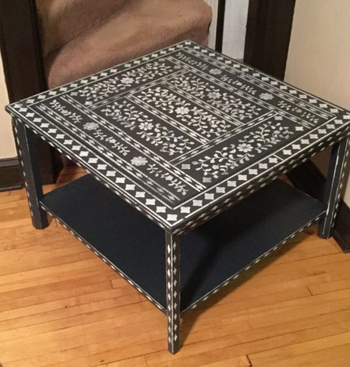 A DIY stenciled table makeover using the Indian Inlay Stencil Kit from Cutting Edge Stencils. http://www.cuttingedgestencils.com/indian-inlay-stencil-furniture.html