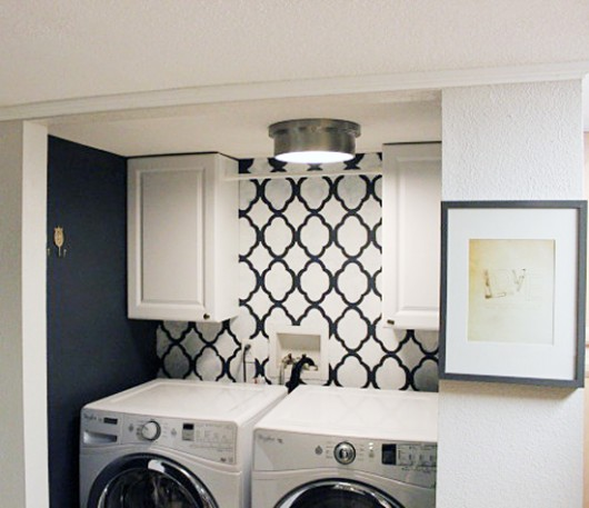 A DIY stenciled laundry room accent wall using the Rabat Allover Stencil from Cutting Edge Stencils. http://www.cuttingedgestencils.com/moroccan-stencil-pattern-3.html