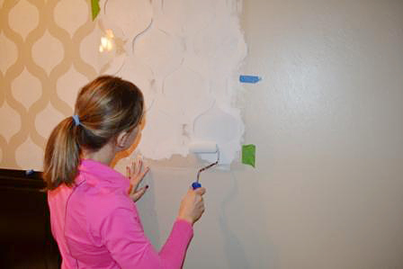 Learn how to stencil a DIY accent wall in a bedroom using the Cascade Allover Stencil from Cutting Edge Stencils. http://www.cuttingedgestencils.com/cascade-allover-stencil-pattern.html