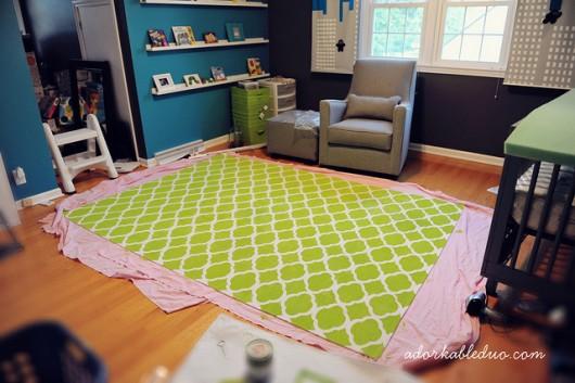 A DIY stenciled area rug tutorial using the Rabat Allover Stencil from Cutting Edge Stencils. http://www.cuttingedgestencils.com/moroccan-stencil-pattern-3.html
