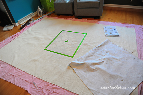 Learn how to stencil a DIY area rug using the Rabat Allover Stencil from Cutting Edge Stencils. http://www.cuttingedgestencils.com/moroccan-stencil-pattern-3.html