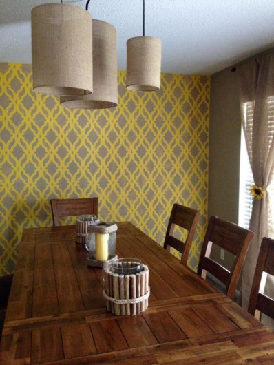 A DIY stenciled dining room using the Tamara Trellis Allover Stencil from Cutting Edge Stencils http://www.cuttingedgestencils.com/tamara-trellis-allover-wall-stencils.html