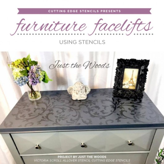 Cutting Edge Stencils shares how to easily makeover old furniture using paint and stencil patterns. http://www.cuttingedgestencils.com/victoria-scroll-wall-pattern-stencil-diy-wall-decor.html