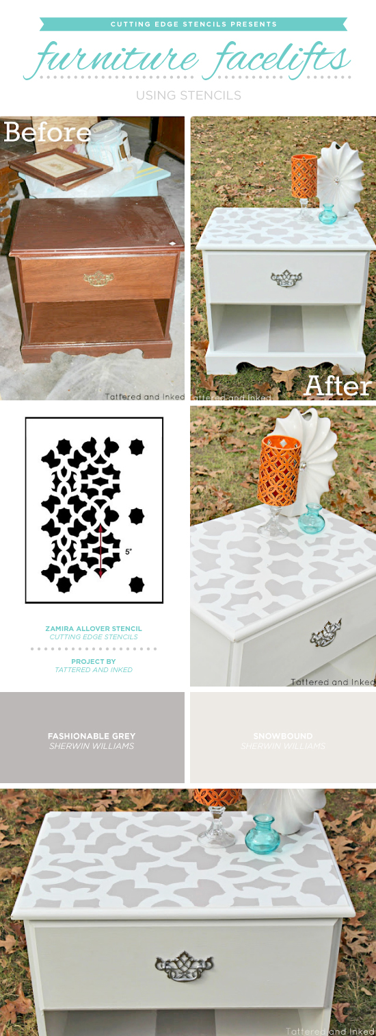Cutting Edge Stencils shares how to easily makeover old furniture using paint and the Zamira Furniture Stencil. http://www.cuttingedgestencils.com/craft-stencil-zamira.html