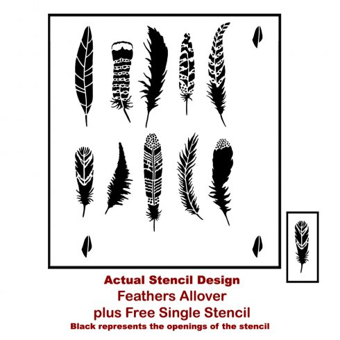 The Feather Allover Stencil from Cutting Edge Stencils is a decorative feather pattern perfect for nature or bohemian inspired projects. http://www.cuttingedgestencils.com/feathers-stencil-feather-stencils-wall-pattern.html