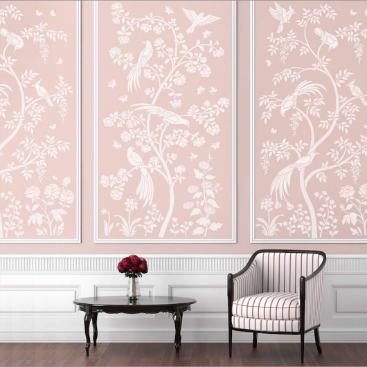 The Birds and Roses Chinoiserie Wall Mural Stencil from Cutting Edge Stencils is a DIY wall pattern that recreates the Chinoiserie wallpaper look. http://www.cuttingedgestencils.com/chinoiserie-wall-stencil-mural-panel-asian-design.html