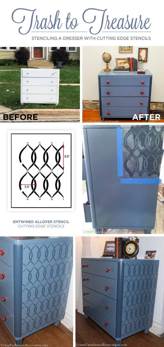 A DIY blue stenciled dresser using the Entwined Furniture Stencil from Cutting Edge Stencils. http://www.cuttingedgestencils.com/entwined-geometric-stencil-pattern.html