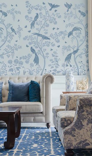 The Birds and Berries Chinoiserie Wall Mural Stencil from Cutting Edge Stencils is a DIY wall pattern that recreates the Chinoiserie wallpaper look. http://www.cuttingedgestencils.com/chinoiserie-stencil-mural-wall-design-wallpaper.html