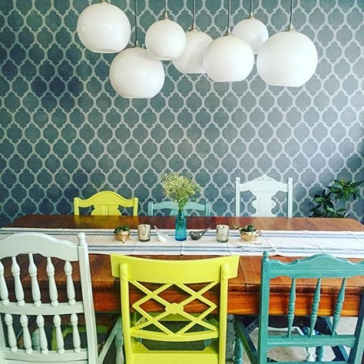 A DIY stenciled dining room accent wall using the Casablanca Allover Stencil from Cutting Edge Stencils. http://www.cuttingedgestencils.com/allover-stencils.html