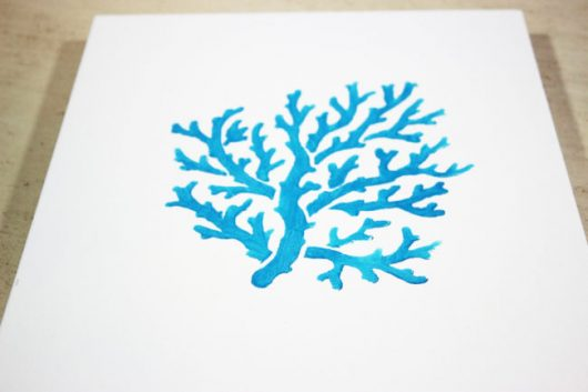 Learn how to stencil DIY wall art using the Coral Stencil from Cutting Edge Stencils. http://www.cuttingedgestencils.com/beach-style-decor-coral-stencil.html