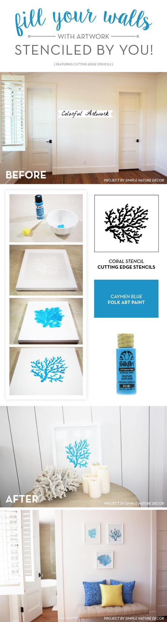 Cutting Edge Stencils shares how to stencil DIY artwork for your blank walls using craft stencils. http://www.cuttingedgestencils.com/beach-style-decor-coral-stencil.html