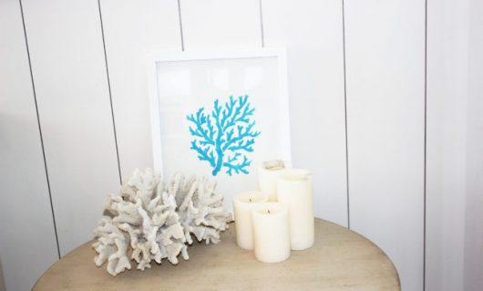 DIY wall art for a bedroom using the Coral Stencil from Cutting Edge Stencils. http://www.cuttingedgestencils.com/beach-style-decor-coral-stencil.html