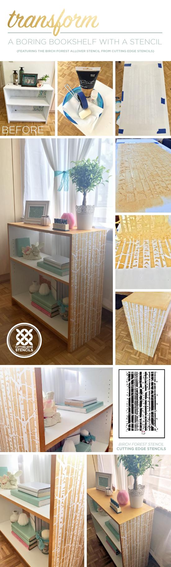 Transform A Boring Bookcase With A Stencil