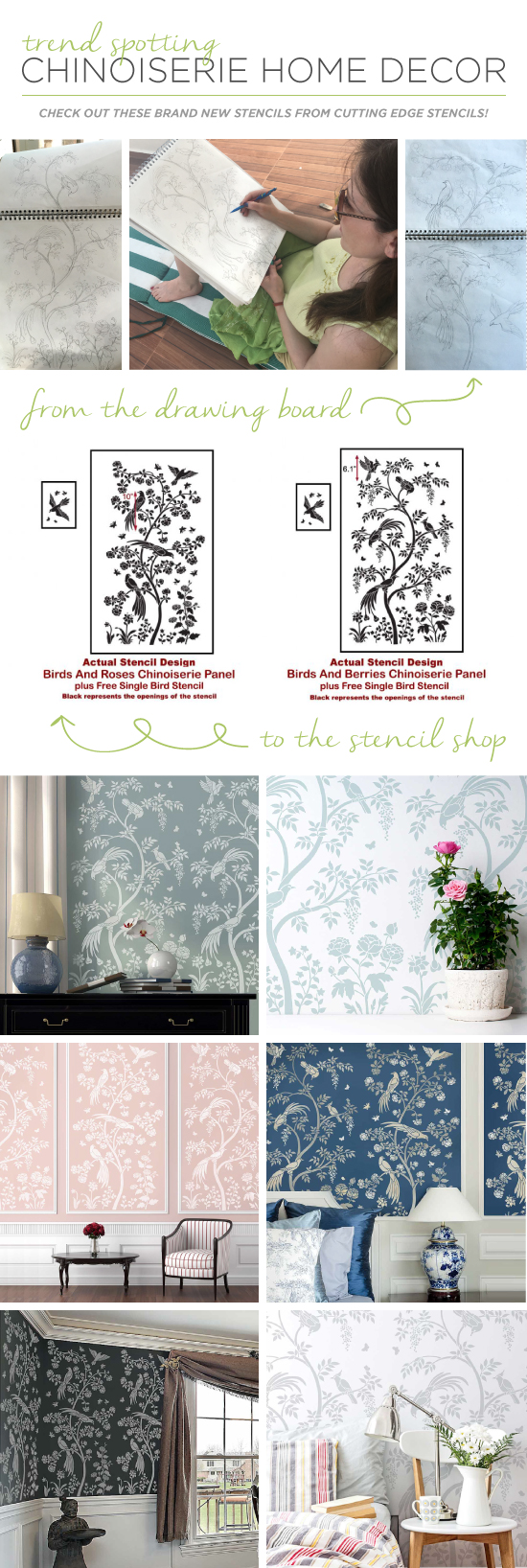 DIY Chinoiserie Wall Mural Panels from Cutting Edge Stencils achieve a wallpaper look. http://bit.ly/ChinoiserieStencils