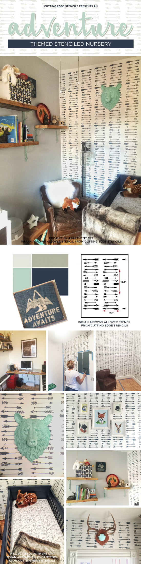 Cutting Edge Stencils shares a DIY adventure themed nursery that was stenciled with the Indian Arrow Allover wall pattern. http://www.cuttingedgestencils.com/indian-arrows-stencil-pattern-for-walls.html