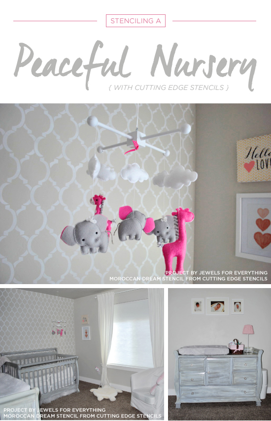 Cutting Edge Stencils Shares A Diy Stenciled Gray And White Nursery With Moroccan Dream Allover