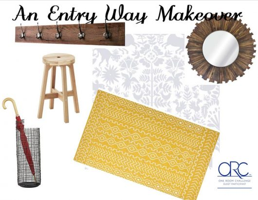 A design board for an entryway makeover using the Otomi Allover Stencil from Cutting Edge Stencils. http://www.cuttingedgestencils.com/otomi-tribal-wall-pattern-stencil.html