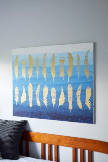 Learn how to make DIY canvas wall art using the Feather Allover Stencil from Cutting Edge Stencils and gold paint. http://www.cuttingedgestencils.com/feathers-stencil-feather-stencils-wall-pattern.html