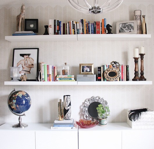 A DIY accent wall in a home office using the Herringbone Stitch Stencil from Cutting Edge Stencils. http://www.cuttingedgestencils.com/herringbone-stitch-allover-pattern-wall-stencil.html