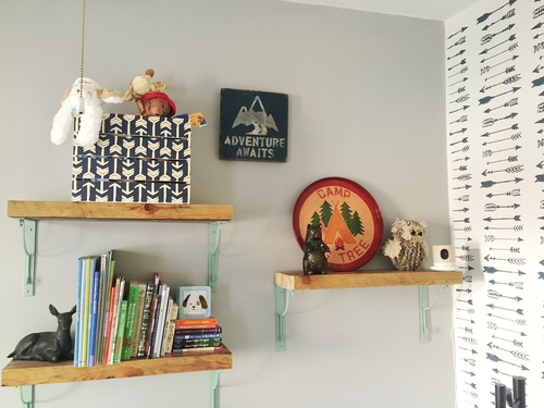 An adventure themed nursery accent wall using the Indian Arrows Allover Stencil from Cutting Edge Stencils. http://www.cuttingedgestencils.com/indian-arrows-stencil-pattern-for-walls.html