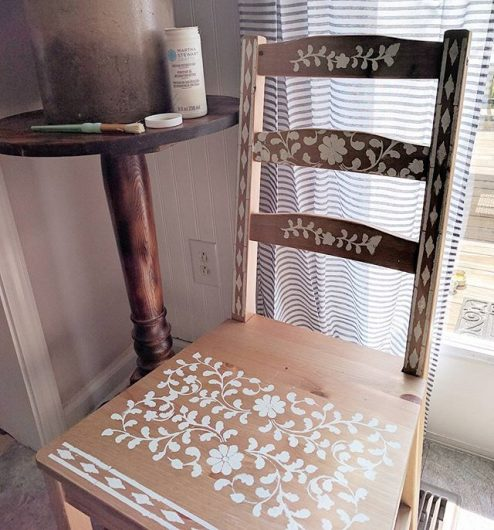 A DIY stenciled chair using a plain Ikea chair and the Indian Inlay Stencil Kit from Cutting Edge Stencils. http://www.cuttingedgestencils.com/indian-inlay-stencil-furniture.html