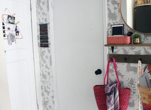 A DIY entryway tutorial using the Otomi Allover Stencil from Cutting Edge Stencils. http://www.cuttingedgestencils.com/otomi-tribal-wall-pattern-stencil.html
