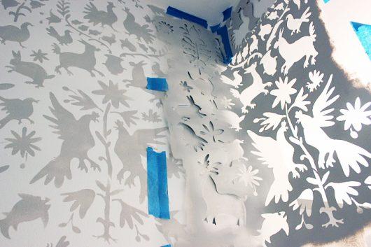 Stenciling a DIY entryway makeover using the Otomi Allover Stencil from Cutting Edge Stencils. http://www.cuttingedgestencils.com/otomi-tribal-wall-pattern-stencil.html