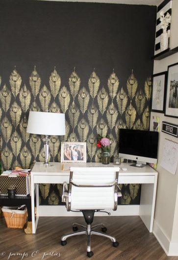 A DIY black and gold stenciled home office accent wall using the Peacock Feather Allover Stencil from Cutting Edge Stencils. http://www.cuttingedgestencils.com/peacock-feather-wall-stencil-pattern.html