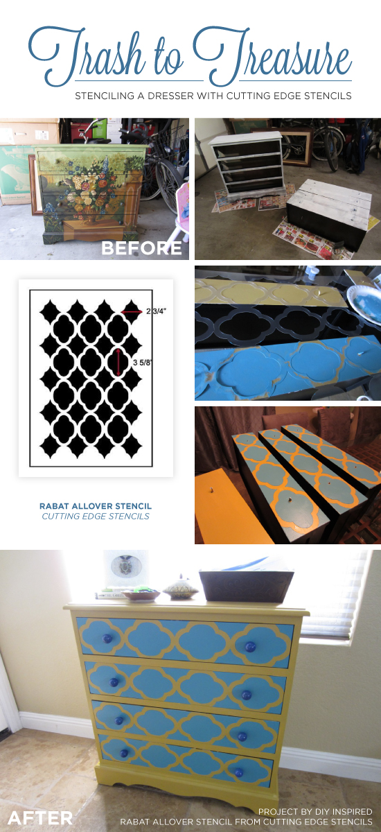 A DIY stenciled yellow and blue dresser using the Rabat Furniture Stencil from Cutting Edge Stencils. http://www.cuttingedgestencils.com/rabat-furniture-fabric-stencil.html