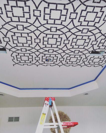 Stenciling a geometric pattern on a ceiling using the Tea House Trellis Stencil from Cutting Edge Stencils. http://www.cuttingedgestencils.com/tea-house-trellis-allover-stencil-pattern.html