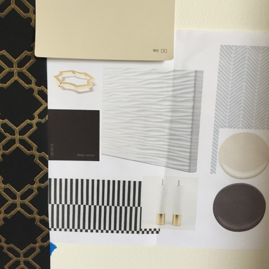 A style board for a home office makeover using the Herringbone Stitch Allover Stencil from Cutting Edge Stencils. http://www.cuttingedgestencils.com/herringbone-stitch-allover-pattern-wall-stencil.html