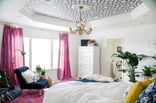 A DIY master bedroom makeover with a stenciled ceiling using the Tea House Trellis Stencil from Cutting Edge Stencils. http://www.cuttingedgestencils.com/tea-house-trellis-allover-stencil-pattern.html