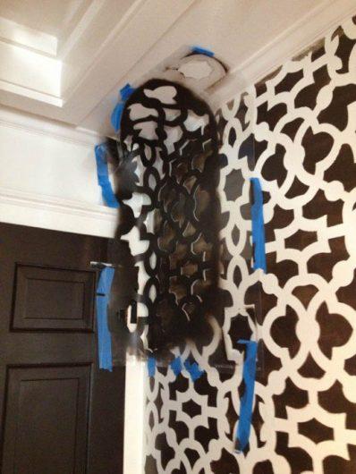 A DIY stencil tutorial to makeover a hallway using the Zamira Allover Stencil from Cutting Edge Stencils. http://www.cuttingedgestencils.com/moroccan-stencil-designs.html