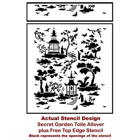 The Secret Garden Toile Stencil from Cutting Edge Stencils. http://www.cuttingedgestencils.com/garden-toile-stencil-chinoiserie-wallpaper.html