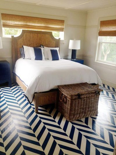 A navy and white stenciled floor using the Herringbone Allover Stencil from Cutting Edge Stencils. http://www.cuttingedgestencils.com/herringbone-stencil-pattern.html