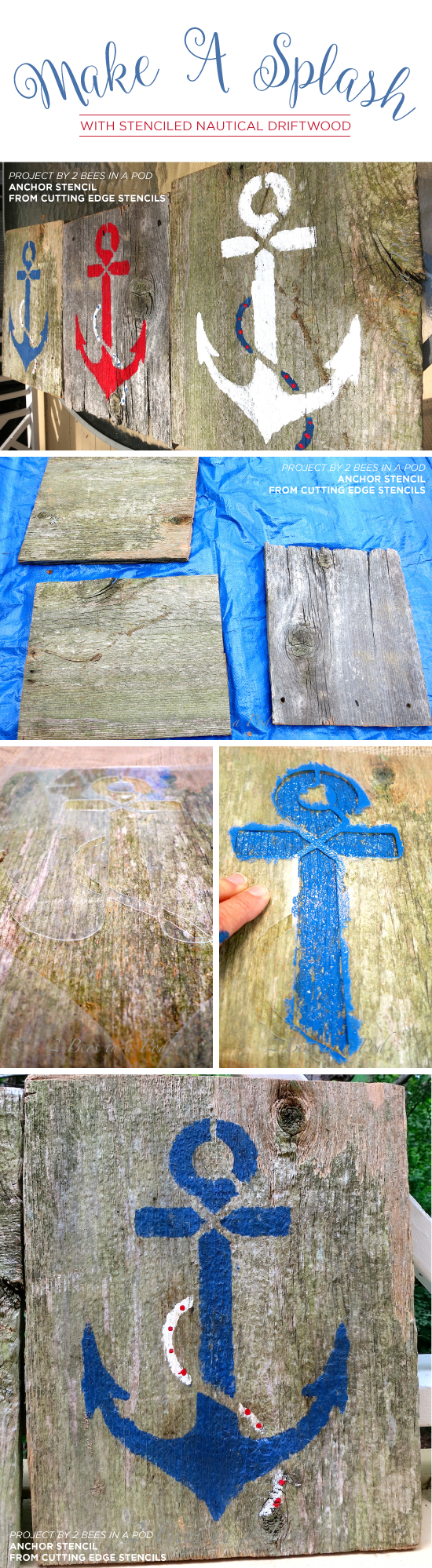 Learn how to stencil DIY reclaimed wood using the Anchor Stencil from Cutting Edge Stencils. http://www.cuttingedgestencils.com/beach-decor-anchor-stencil.html