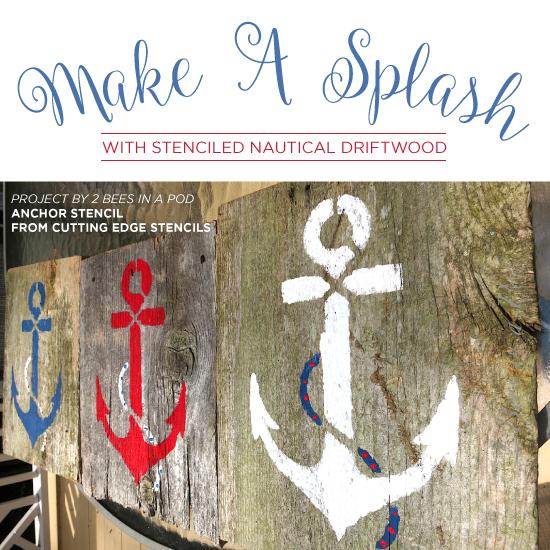 Cutting Edge Stencils shares easy DIY driftwood and reclaimed wood art ideas using beach decor stencils. http://www.cuttingedgestencils.com/beach-decor-stencils-designs-nautical.html