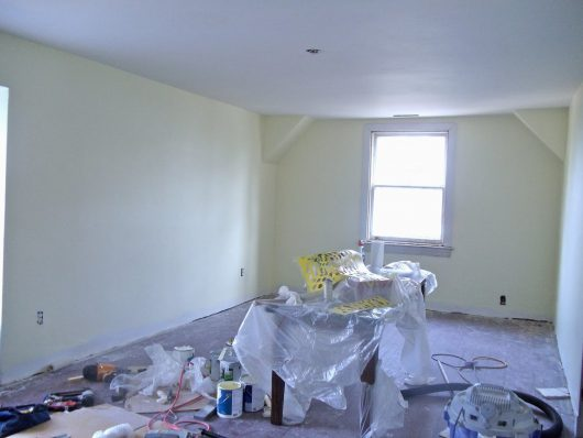 A craft room before its stenciled makeover. http://www.cuttingedgestencils.com/allover-stencil.html