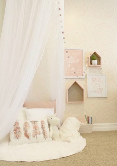 A DIY stenciled pink and white girl's bedroom using the Charlotte Allover lace stencil from Cutting Edge Stencils. http://www.cuttingedgestencils.com/charlotte-allover-stencil-pattern.html