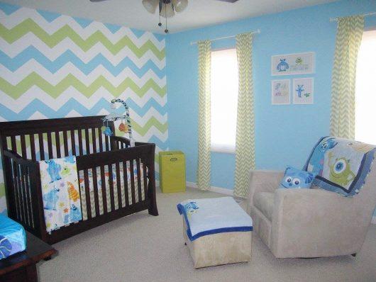 A DIY stenciled nursery accent wall using a geometric stencil pattern, the Chevron Allover Stencil, from Cutting Edge Stencils. www.cuttingedgestencils.com/chevron-stencil-pattern.html