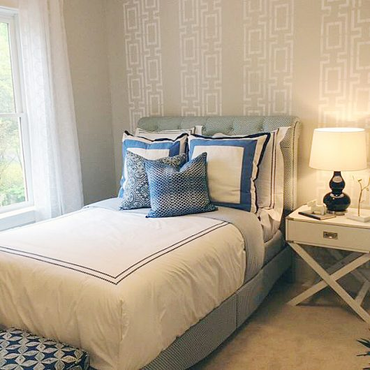 A DIY stenciled bedroom accent wall using a geometric stencil pattern, the Connection Allover Stencil, from Cutting Edge Stencils. http://www.cuttingedgestencils.com/wallpaper-stencil-connection.html