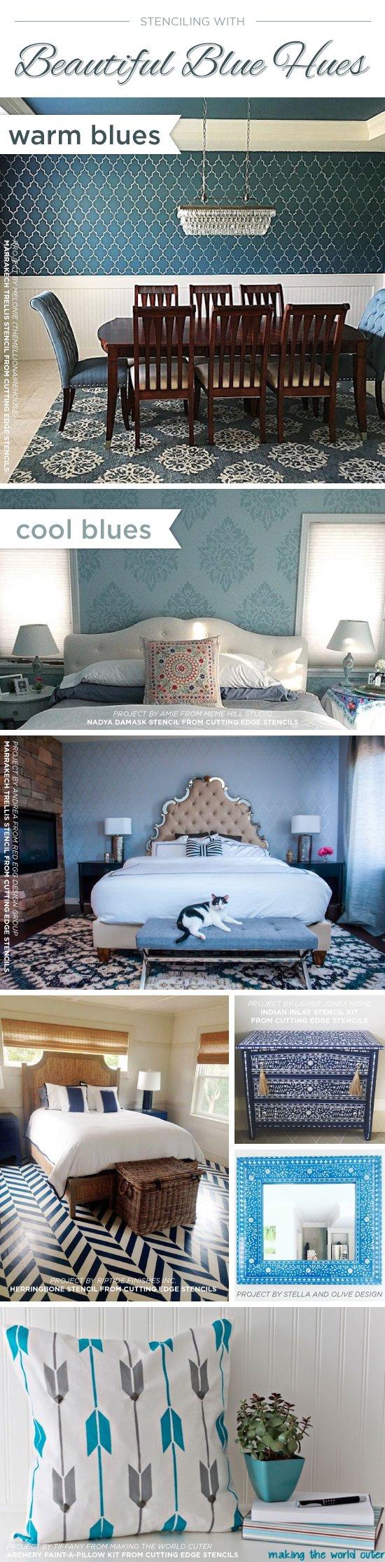 Cutting Edge Stencils shares beautiful blue room ideas and home decor accessories. http://www.cuttingedgestencils.com/wall-stencils.html