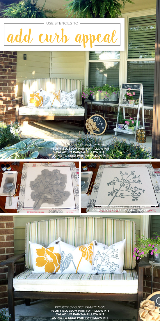 Dress up a porch to increase curb appeal using DIY nature inspired stenciled accent pillows from Paint-A-Pillow. http://paintapillow.com/index.php/paint-a-pillow-kits/diy-accent-pillows-paint-a-pillow-kits/peony-blossom-paint-a-pillow-kit.html