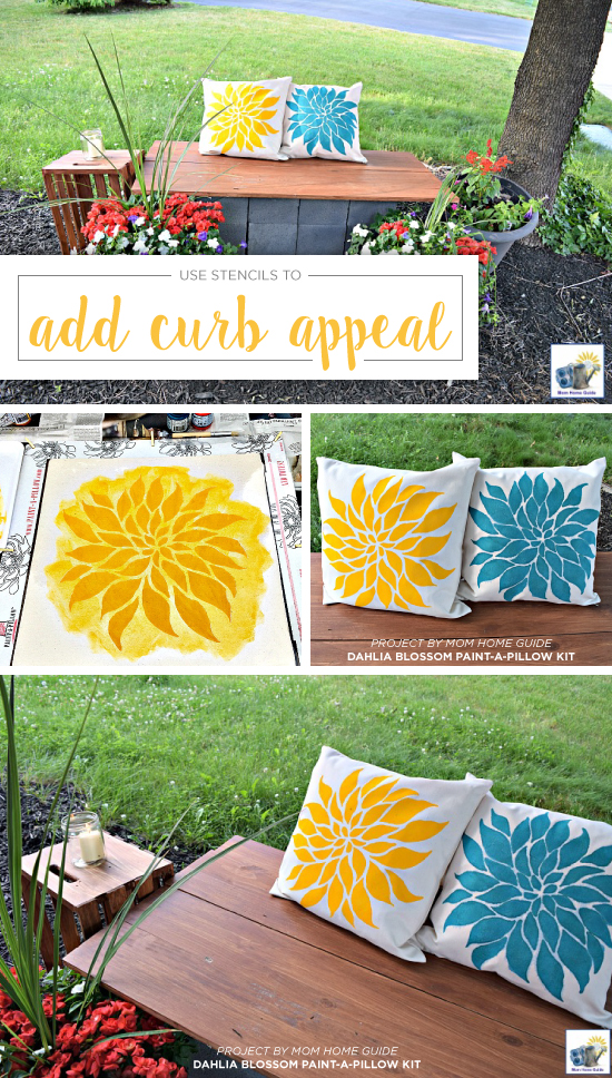 Dress up a porch to increase curb appeal using DIY Dahlia Blossom stenciled accent pillows from Paint-A-Pillow. http://paintapillow.com/index.php/paint-a-pillow-kits/nature-inspired-diy-accent-pillows/dahlia-blossom-paint-a-pillow-kit.html