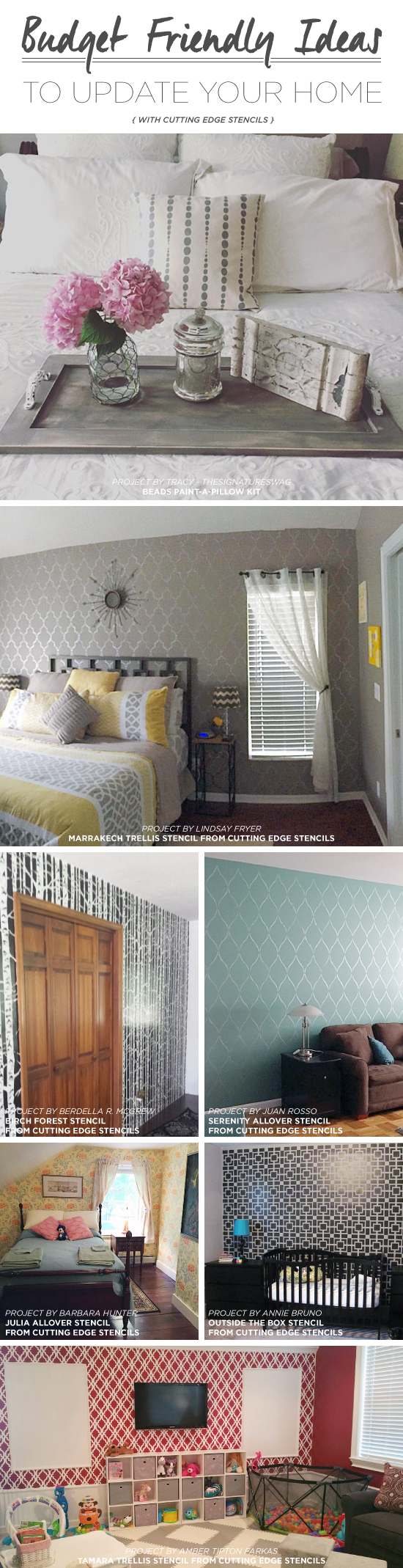 Cutting Edge Stencils shares DIY stenciled room ideas and home decor projects using stencils. http://www.cuttingedgestencils.com/wall-stencils-stencil-designs.html