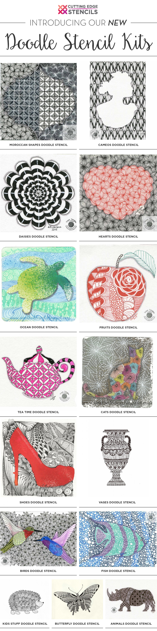 Cutting Edge Stencils is excited to introduce NEW Doodle Stencil Kits which are basic stencil shapes for doodling or tangling. http://www.cuttingedgestencils.com/doodle-stencils-tangling-stencil-doodling-coloring-pages.html